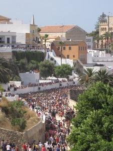 the crowd arrives for the Feast of St John in Menorca