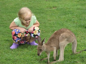 little girl with wallabie